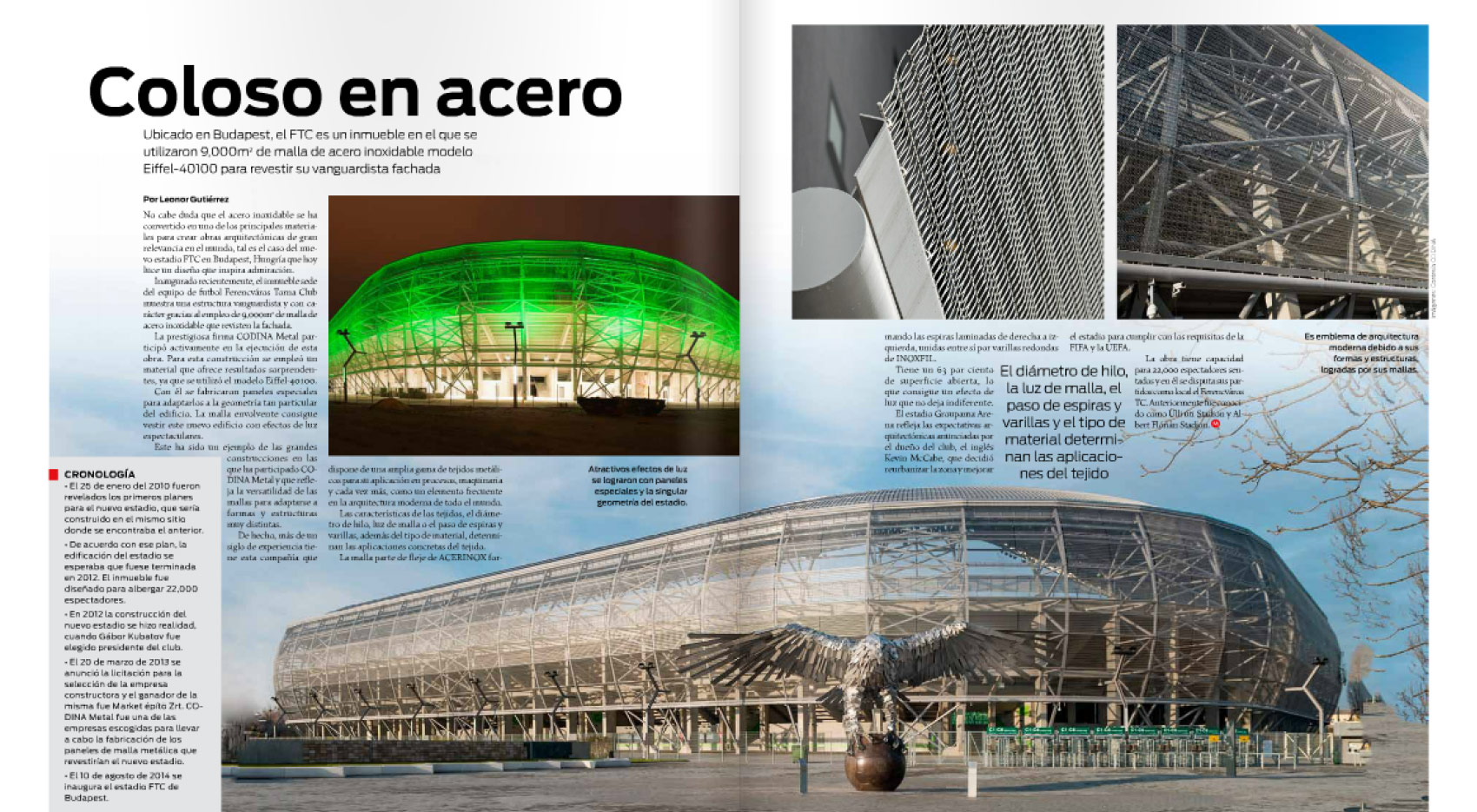 feature Industria del Acero Monterrey about FTC Groupama Budapest Stadium by Codina Metal