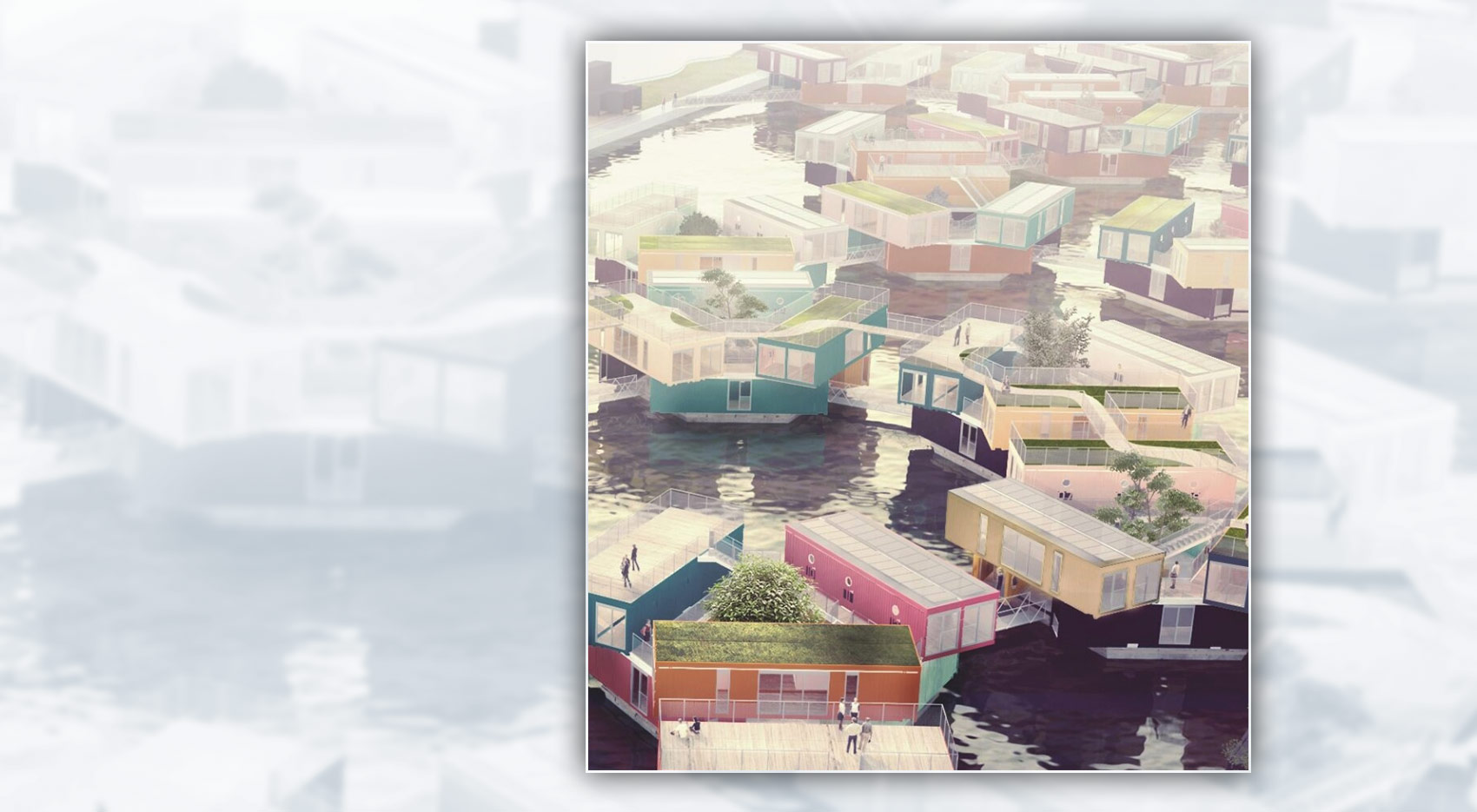 render of floating student houses in Copenhagen
