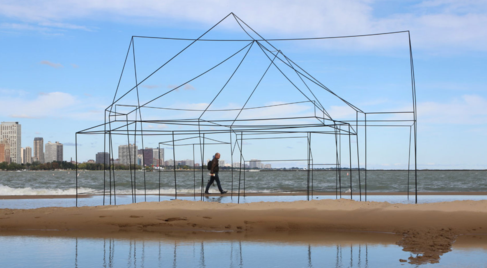 image of Titled House, a Sarah FitzSimons sculpture on the Lake Michigan