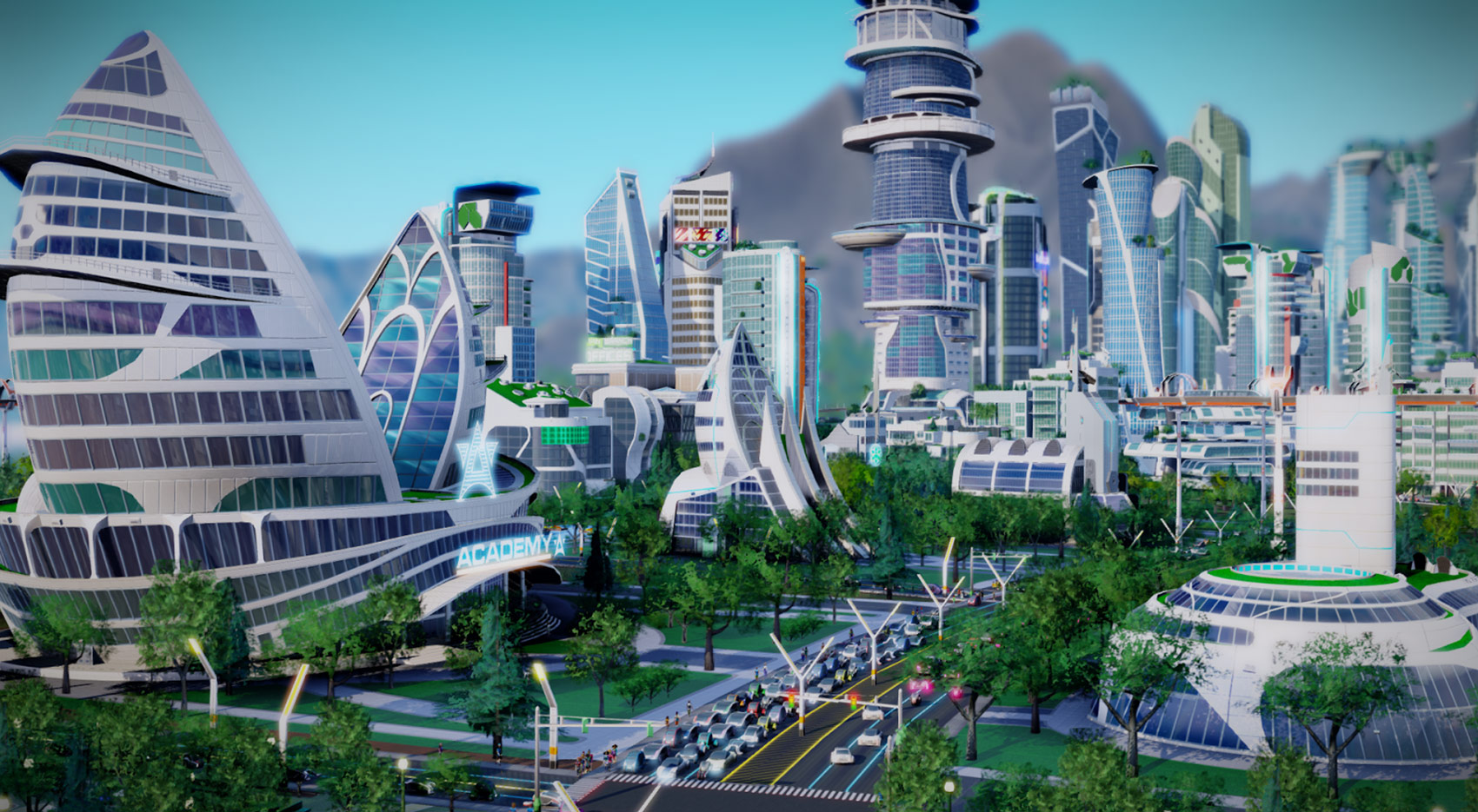 render of a city made with the concept of arcology