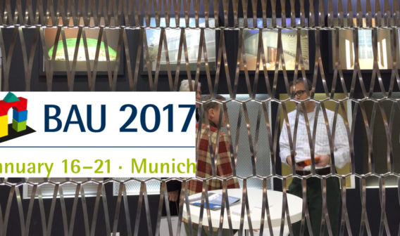 logo BAU 2017 fair in Munich over an image of Codina Architectural